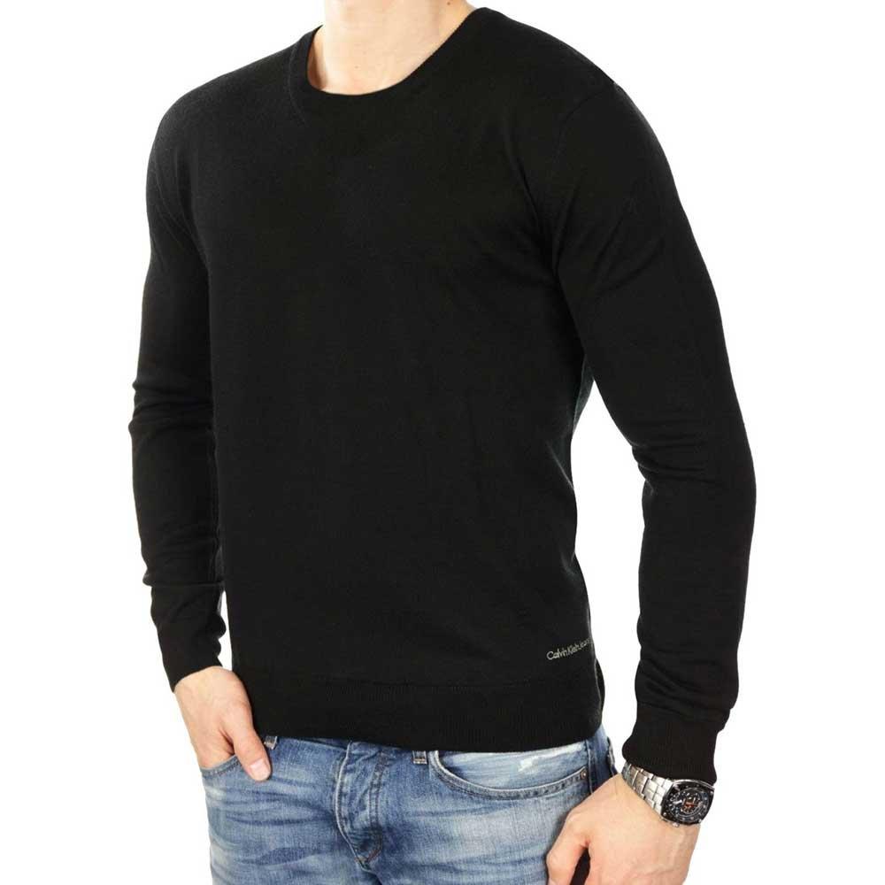 herren pullover style mit calvin klein  schwarzer herrenpullover mit coolem v herren pullover marken calvin klein  schwarzer herrenpullover