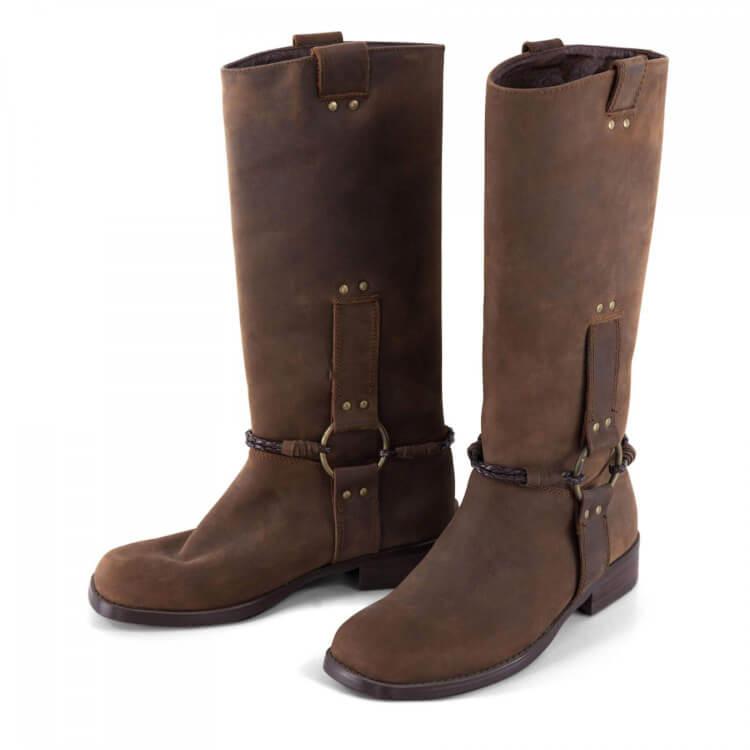 846b7aca08a65b FRIIS   COMPANY Damen Stiefel Boots in Dunkelbraun mit geradem Schaft Leder  3032