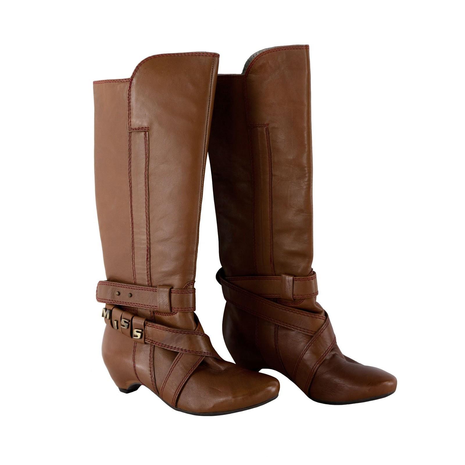 MISS SIXTY Damen Stiefel Boots PENNY in Hellbraun mit geradem Schaft Leder 2581