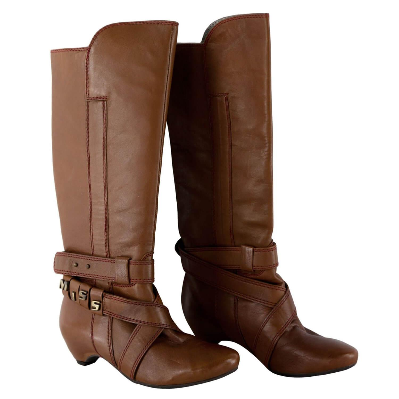 57a8400ca6d429 MISS SIXTY Damen Stiefel Boots PENNY in Hellbraun mit geradem Schaft Leder  2581